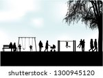 people silhouettes urban... | Shutterstock .eps vector #1300945120