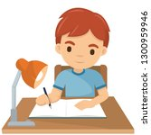 cute boy writing his homework... | Shutterstock .eps vector #1300959946