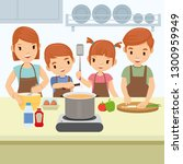 happy family are cooking in... | Shutterstock .eps vector #1300959949