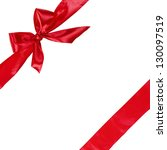 red ribbon with bow  square...   Shutterstock . vector #130097519