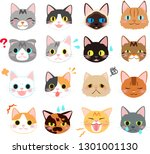 Various Cats Emotion Face Icons