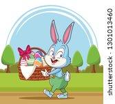 happy easter poster. easter... | Shutterstock .eps vector #1301013460