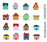 house set   colourful home icon ... | Shutterstock .eps vector #130102073