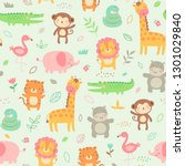 pastel cute jungle animals with ... | Shutterstock .eps vector #1301029840