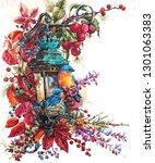 vintage street lamp watercolor... | Shutterstock . vector #1301063383