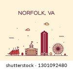 norfolk skyline  virginia  usa. ... | Shutterstock .eps vector #1301092480
