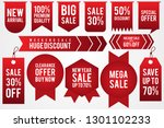 set colorful sticker discount... | Shutterstock .eps vector #1301102233