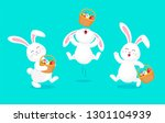 Stock vector white rabbit holding easter egg basket jumping and dancing cute bunny happy easter day cartoon 1301104939