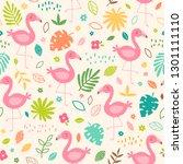 pastel tropical summer seamless ... | Shutterstock .eps vector #1301111110