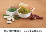 curry leaves chutney powder  an ... | Shutterstock . vector #1301136880