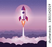 rocket launch above the clouds... | Shutterstock .eps vector #1301142019