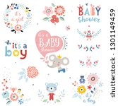 baby shower design elements and ... | Shutterstock .eps vector #1301149459