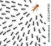 ants organized in a group fight ... | Shutterstock .eps vector #1301149930