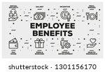 employee benefits line icon set | Shutterstock .eps vector #1301156170