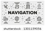 navigation line icon set | Shutterstock .eps vector #1301159056
