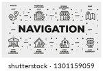 navigation line icon set