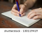 hand write in  the notepad ...   Shutterstock . vector #130119419