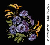 embroidery violet flowers and... | Shutterstock .eps vector #1301196499