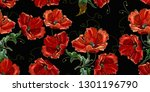 beautiful red poppies flowers ... | Shutterstock .eps vector #1301196790