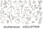 plant based doodle. veggies and ... | Shutterstock .eps vector #1301197909