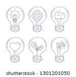 lightbulb icon set. hand draw... | Shutterstock .eps vector #1301201050