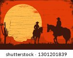 silhouette of cowboy couple... | Shutterstock .eps vector #1301201839