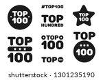 top hundred 100 black and white ...   Shutterstock .eps vector #1301235190