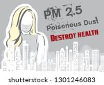 woman wear a dust mask with... | Shutterstock .eps vector #1301246083