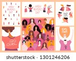 set of womens day cards with... | Shutterstock .eps vector #1301246206
