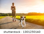Stock photo girl skating with dog outdoors in nature on a road to forest sunny day countryside sunset 1301250160