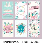 Stock vector set of easter greeting cards and invitation for easter egg hunt party designs in cute hand drawn 1301257003