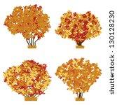 autumn bushes vector set. | Shutterstock .eps vector #130128230