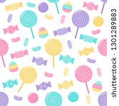 kawaii cute pastel candy sweet... | Shutterstock .eps vector #1301289883