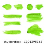 green watercolor strokes and... | Shutterstock . vector #1301295163