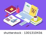 isometric concept for blog ... | Shutterstock .eps vector #1301310436