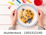 kid's breakfast meal   pancakes ...   Shutterstock . vector #1301312140