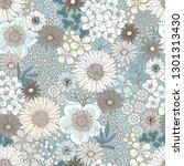 seamless cute floral pattern...   Shutterstock .eps vector #1301313430