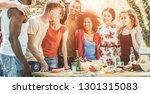 happy multiracial friends... | Shutterstock . vector #1301315083