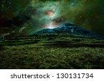 Green Alien Landscape With...