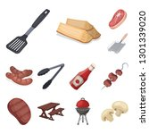 barbecue and equipment cartoon... | Shutterstock . vector #1301339020