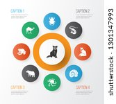 fauna icons set with rhino ... | Shutterstock . vector #1301347993