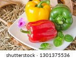 sweet pepper and leaf with... | Shutterstock . vector #1301375536