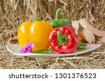 ceramic dish of bright sweet... | Shutterstock . vector #1301376523