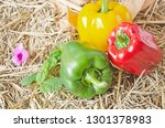 beautiful colors of bell peppers | Shutterstock . vector #1301378983