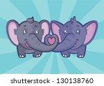 two cute elephants in love... | Shutterstock .eps vector #130138760