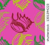 seashell summer background  ... | Shutterstock .eps vector #1301394223