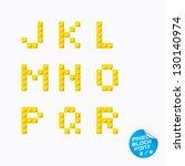 unique pixel block alphabet ... | Shutterstock .eps vector #130140974