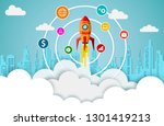 space shuttle are flying up... | Shutterstock .eps vector #1301419213