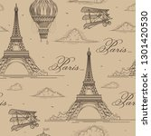 eiffel tower seamless pattern.... | Shutterstock .eps vector #1301420530