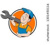 funny company sign with happy... | Shutterstock .eps vector #1301450116